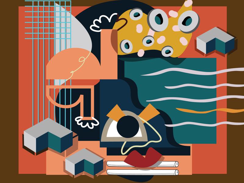 Wavy   Gravy shapes lips 3d art contemporary art contemporary concept abstract art abstract women in illustration design colors illustration