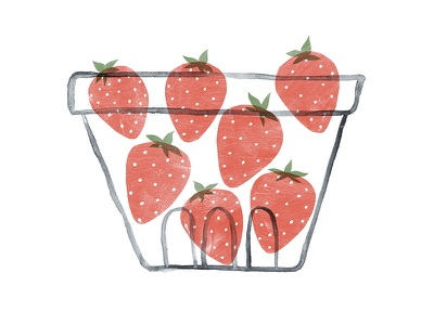 Strawberry Basket watercolor painting paint illustration produce fruits red basket fruit strawberries strawberry