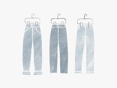 Three Jeans simple watercolor painting illustration clothes vintage jeans