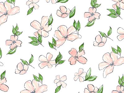 Flower Pattern gouache illustration watercolor pattern leaves leaf flowers flower