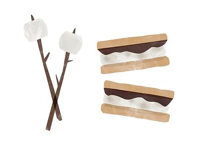 Marshmellows and S'mores dessert illustration bonfire summer smores marshmellow
