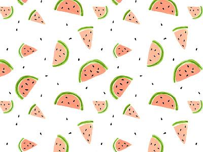 Watermelon Pattern painted snack cute fruit watermelon illustration pattern summer
