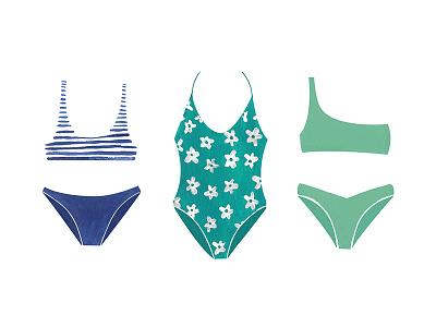 Bathing Suits bathing suit bathing suits flower flowers sun beach cute paint illustration swim summer bikini