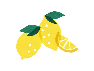 Lemons cute slice leaves drawing lemonade summer illustration fruit lemon lemons