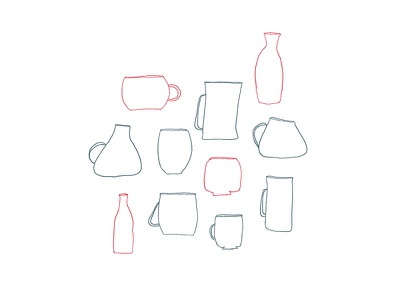 Mugs and Cups drawing kitchen bowls mugs cups bowl mug cup illustration simple