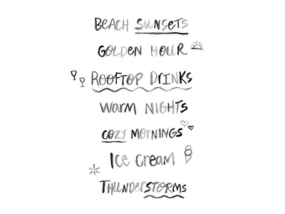 Happy Summer List ice cream hand lettering sunset lettering watercolor cute list happy
