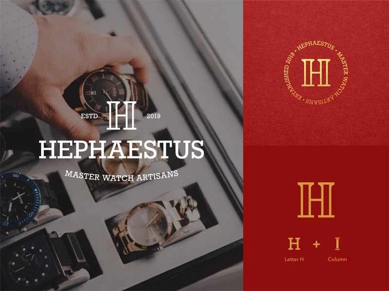Hephaestus - Brand Assets lettermark monogram watch company brand design branding logo design logo