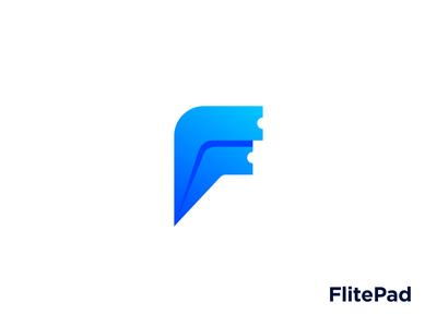 FlitePad – Logo paper airplane ticket letter f minimalist logo app logodesign monogram brand design branding lettermark logomark logo design logo