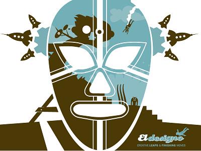 Lucha Collage luchador el designo vector art