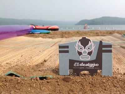 Ed On Beach letterpress die cut business cards