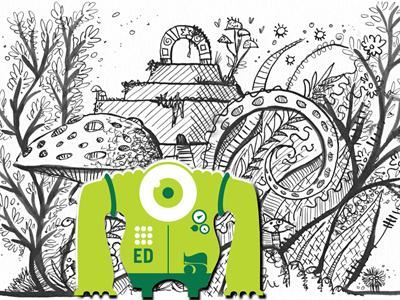 Forest Ink Test  alien pen and ink illustration stickers eldesigno