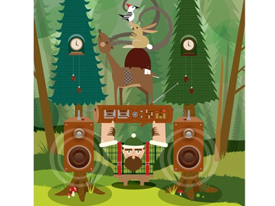 Bush Bash eldesigno retro music illustration print camping vector art nature poster