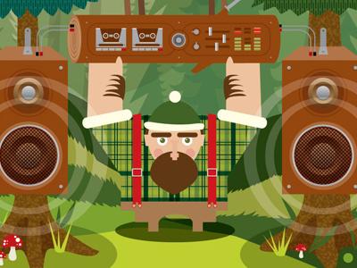 Dribble 2 eldesigno retro music illustration print camping vector art nature poster