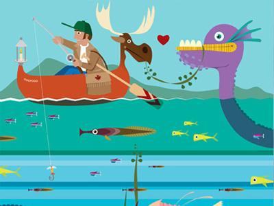 Ogogopo Amore  design print canada illustration poster fishing outdoors canoe