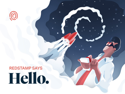 Hello Dribbble! messina sans tiempos marketing website landing page hero image vector visual branding brand animation rocket illustration startup agency debut shot debut
