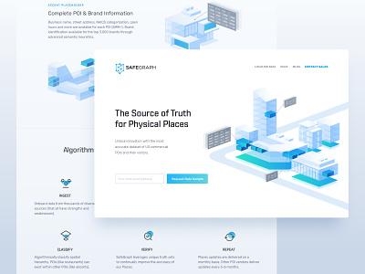 Showing Data with Illustration: SafeGraph agency layoutdesign iconography website layout isometric data branding illustration