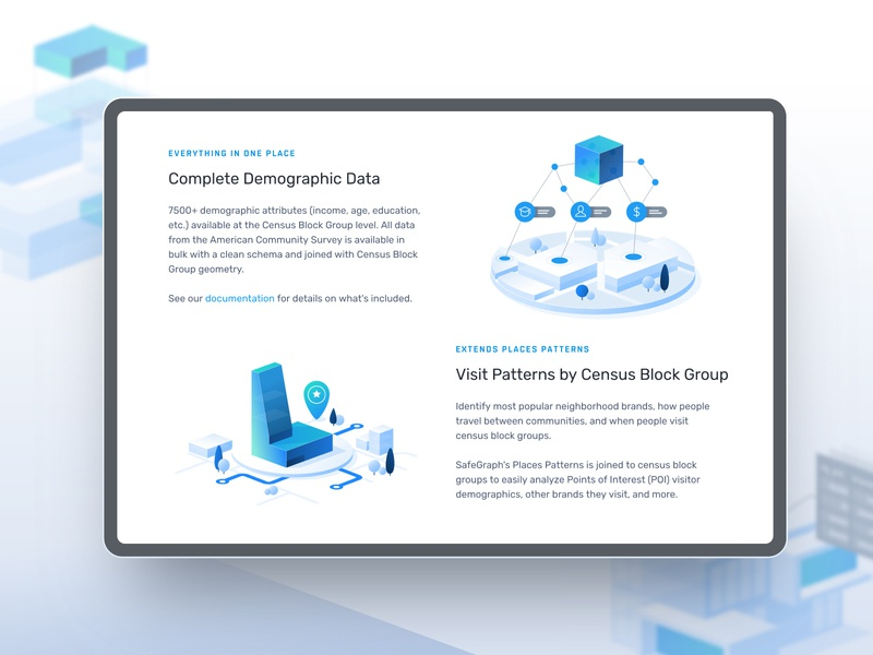 Laying it out for SafeGraph landing page branding data mono icons design layout icons illustration