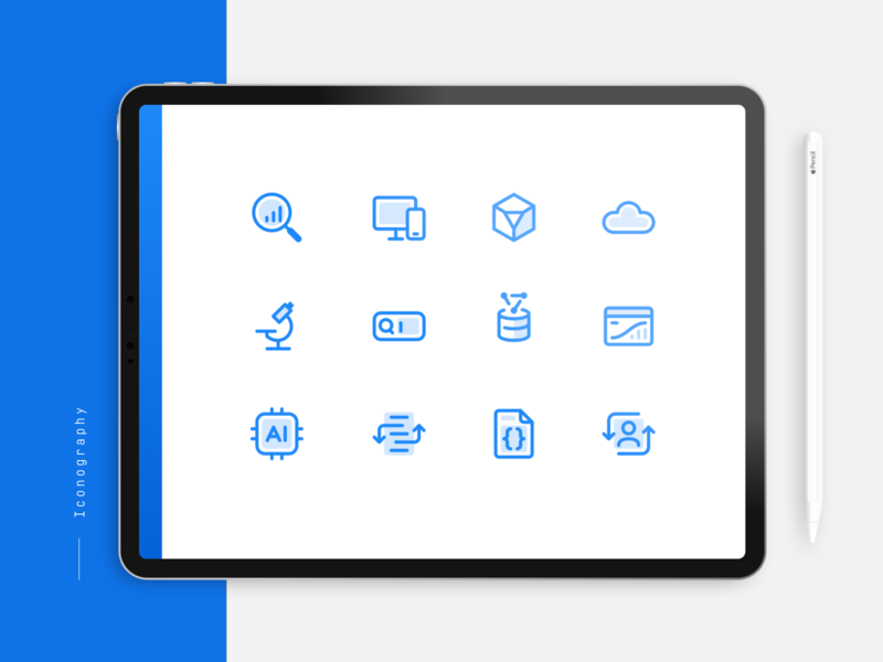 Icon Library conversion search set linear exploration style branding icon blue technology iconography