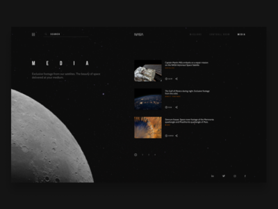 Space exploration website concept, Media Page. design web ux ui spacedchallenge space moon minimal challenge daily