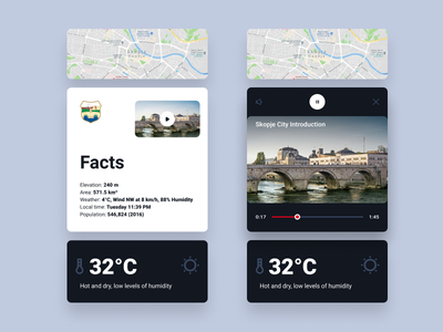 Skopje City widgets map widget weather widget video design ui ux ui elements uidesign widgets