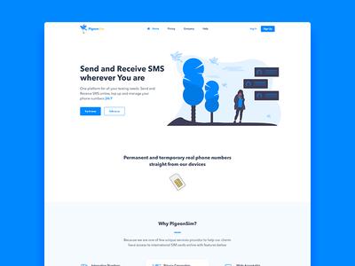 PigeonSIM Landing Page Design