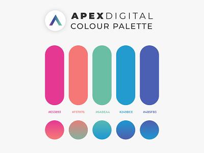 Colour Palette for Apex Digital typography ux branding ui pink sketch purple graphic design illustration design