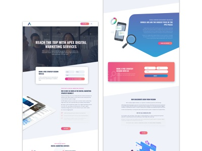 Webdesign and development for Apex Digital pink digital agency web design agency wordpress web development web design ui sketch graphic design design