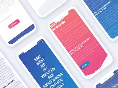 Mobile Mockups for Apex Digital purple blue seo website seo agency digital agency website digital agency branding pink design graphic design web development wordpress sketch