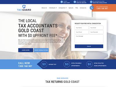 Home Page of taxguard.com.au branding dark blue blue ui development ui design web design and development web design wordpress accountant website tax website tax