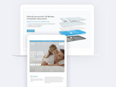 Laptop & Tablet Mockup of wenatex.com.au icon ux ui design blue mattress web development web design branding mattress website wenatex woocommerce wordpress
