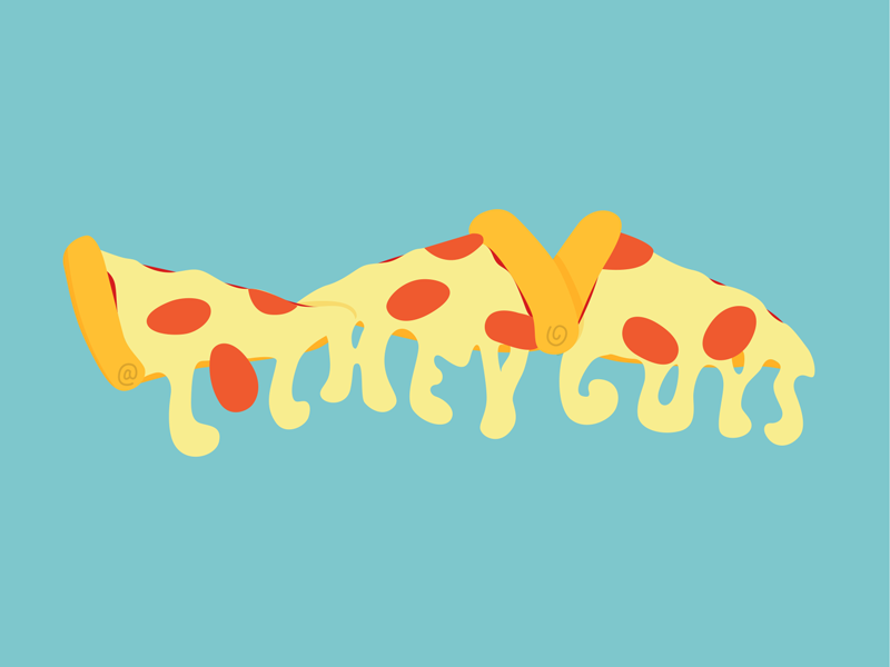 @LOLHEYGUYS type typography hand lettering letters pizza pepperoni cheesy cheese ben pelley
