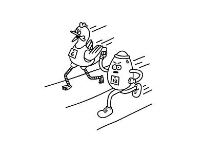 Chicken Run line art food cartoon race olympics illustration egg chicken