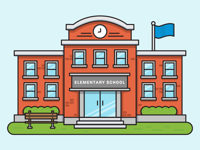 School is cool brick bench windows vector flat line icon glass door school building illustration