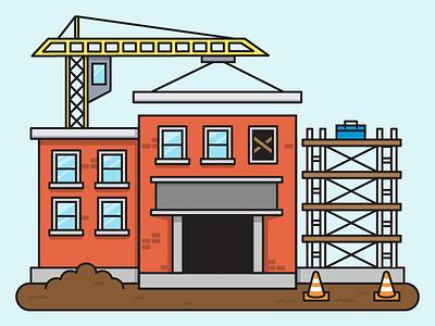 Under Construction construction brick scaffolding vector flat line icon tools crane school building illustration