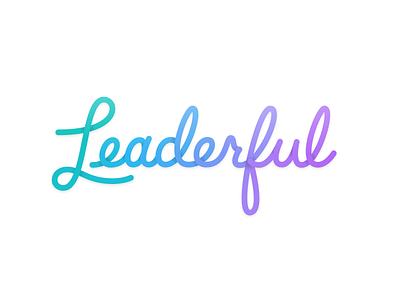 Leaderful Script shadows colors art gradient logo illustration script lettering typography type