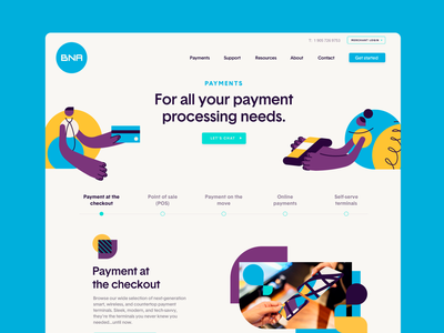 BNA - Landing Page sales page one page landing page web design website nfc mobile payments pos fintech ecommerce payments