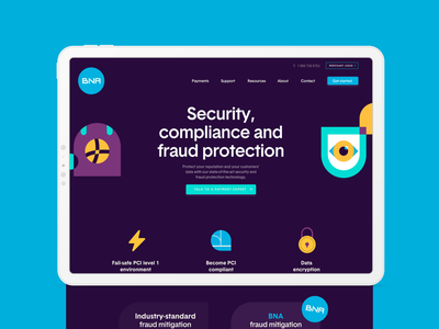 BNA - Security Landing Page corporate vision eye nfc mobile payments ui responsive landing page web design server data encryption fintech payments protection fraud compliance lock security