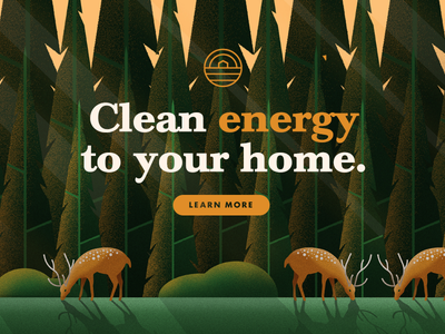 Green House - Call to Action green energy nature animals deer forest vector ux ui web cta call to action illustration