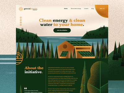 Green House - Landing Page Preview trees energy sustainability green ux ui woods forest cabin header landing page web