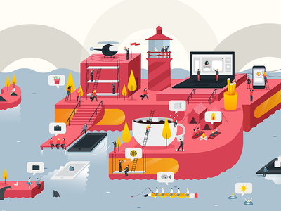 Red Sofa - World Reveal landing page header web ux ui app map world illustration