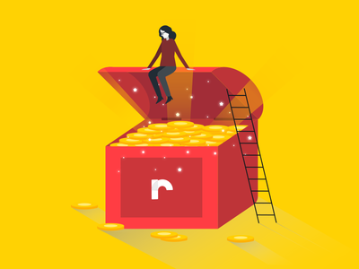 Red Sofa - Spot Illustrations II ladder person coin money treasure web ux ui app illustration vector spot