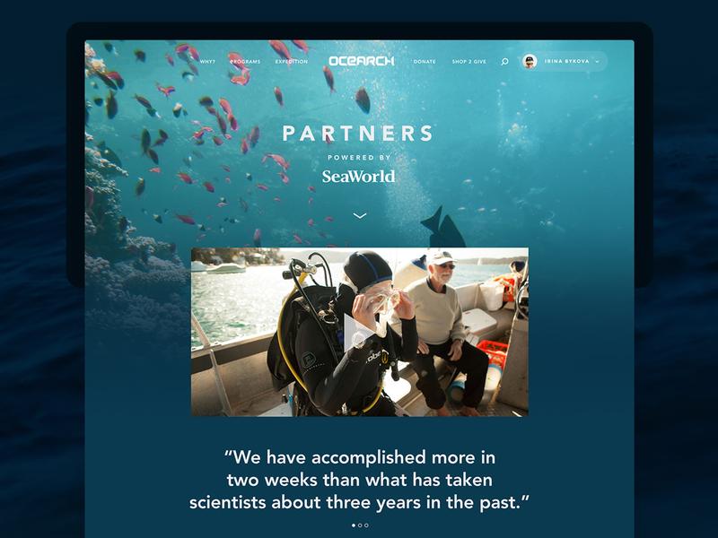 Ocearch - Website tracker wildlife nature ocean science responsive mobile web website ux ui