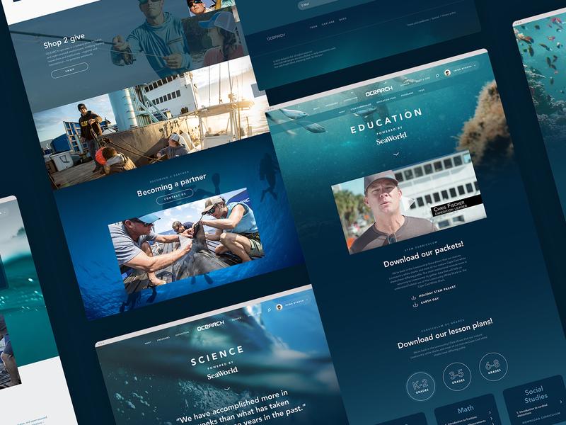 Ocearch - Full website preview interaction underwater wildlife nature ocean science responsive web ux ui