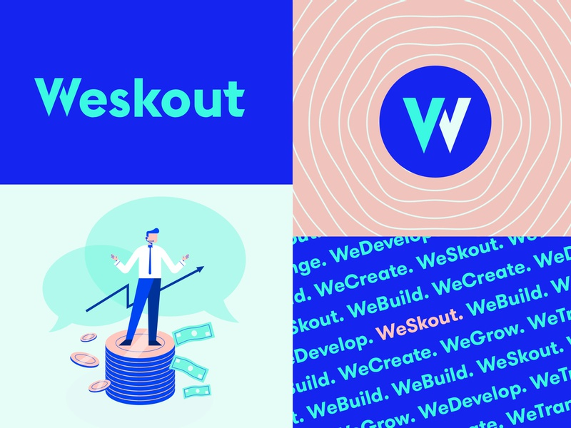 Weskout - Branding System agency firm marketing sales vector illustration texture pattern logotype design system brand system