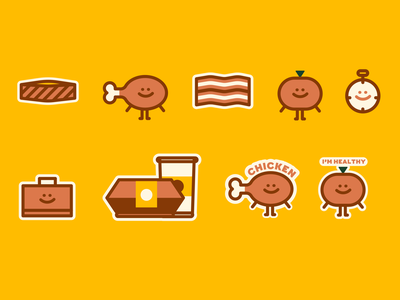 eLunch - Spot Illustrations icons fruit icons fruits vegetables food icons chicken vector brand illustration