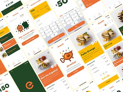 eLunch - App cart ordering payment fintech onboarding screens food app lunch app catering app app branding ux ui
