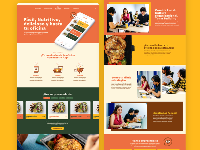 eLunch - Website about us services business corporate startup landing page app landing page app website one-page landing page web ux ui