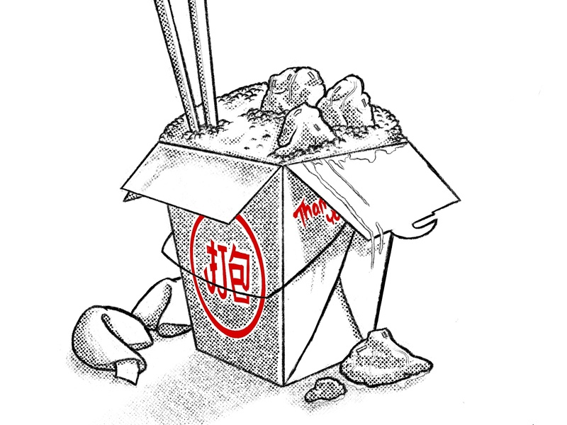 Chinese Take Out retro food design illustration procreate