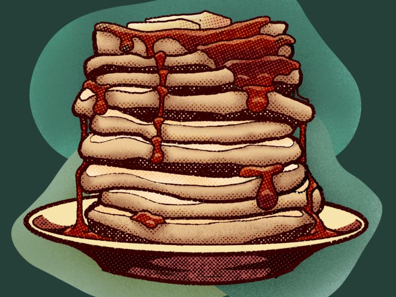 Pancakes Illustration dish butter syrup pancakes distressed vintage retro design food procreate illustration