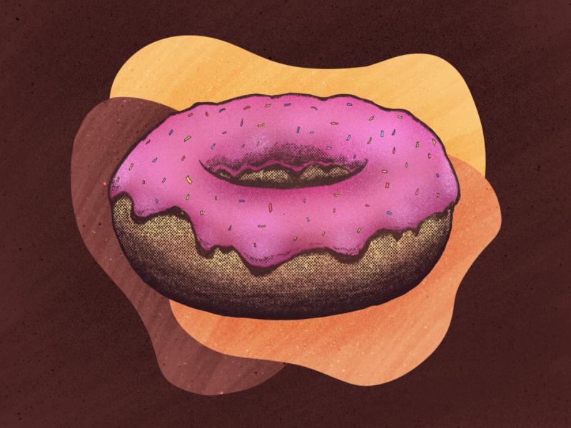 Donut Illustration sprinkles glazed retro procreate food distressed donut illustration